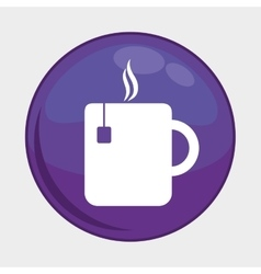 Tea mug button icon Social media design vector