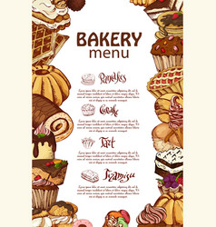 template with hand drawn sketch bakery vector image
