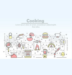 thin line art cooking poster banner vector image