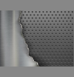 torn metal background broken steel plate vector image