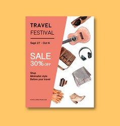 Tourism day poster design with bag boots vector