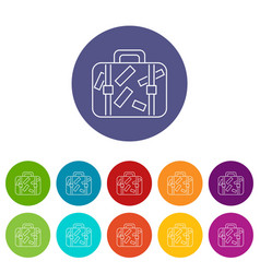 travel suitcase icons set color vector image