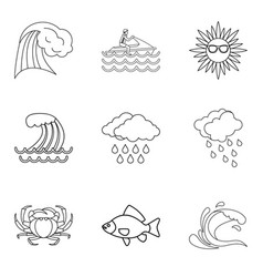 Tropical explorer icons set outline style vector