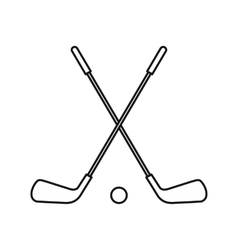 Two crossed golf clubs and ball icon outline style vector