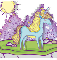 unicorn animal with bushes plants and sun vector image