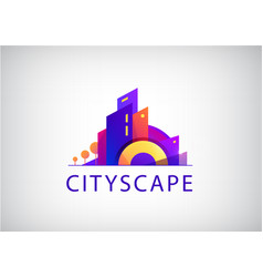 Vecrtor city scape real estate agency logo vector
