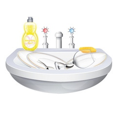 Washbasin With Crockery vector image