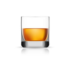 Whisky glass icon realistic style vector