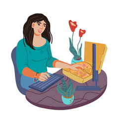 Woman character snacking during work at computer vector