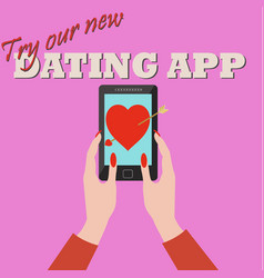 woman using a dating app and falling in love vector image