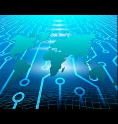 world map cyber wireless internet network vector image