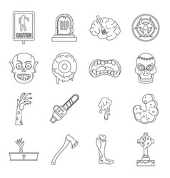 zombie icons set parts outline style vector image