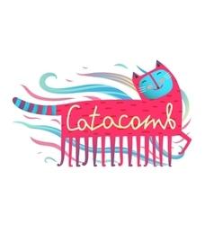Cat and comb humorous cartoon design catacomb vector image vector image