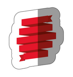 color sticker of red ribbon in a shape spiral vector image