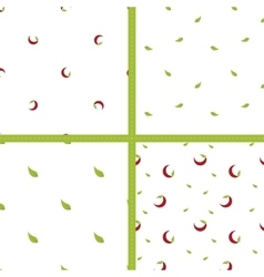 Four simple chili pepper and leaves vector image