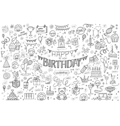 Happy birthday hand drawn abstract vector
