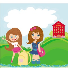 happy girls go to school vector image