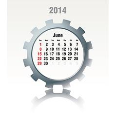June 2014 - calendar vector image vector image