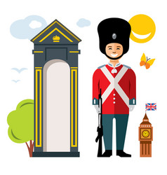 British guardsman flat style colorful vector