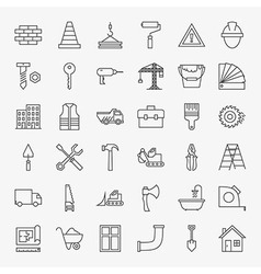 Building Construction Line Art Design Icons Big vector image vector image