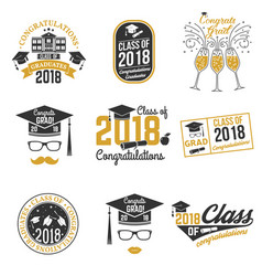 class of 2018 badge vector image