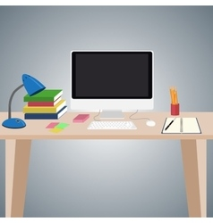 Desk with computer and other items on it vector image