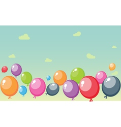 Festive balloons background with sky and clouds vector image vector image