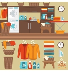 Laundry room with washer vector image
