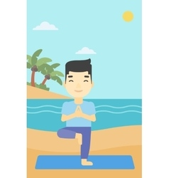 Man practicing yoga tree pose on the beach vector