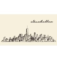 Manhattan New York hand drawn sketch vector image vector image