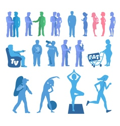 Sport and physical inactivity silouete set good vector