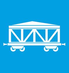 Train cargo wagon icon white vector