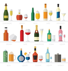 Alcohol glasses and bottles flat icon set vector image
