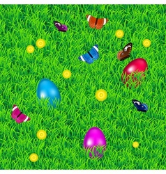 Background with grass easter eggs and flowers vector image