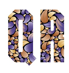 Beautiful floral alphabet letters Q and R vector image