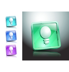 glass icons set light ideas lamp vector image