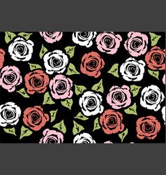 seamless floral pattern with rose flowers vector image