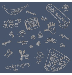 Childcare Doodle Icon Set On Blue vector image vector image