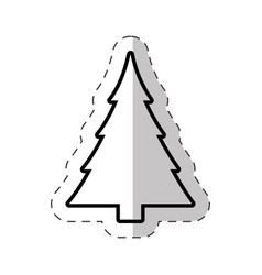 christmas tree celebration cut line vector image