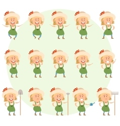 Set of gardener women flat icons vector image vector image