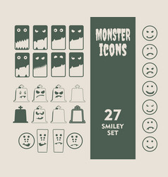 set of icons for halloween party vector image vector image