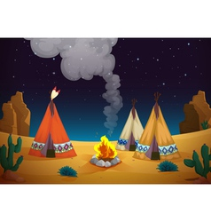 tent house and fire vector image vector image