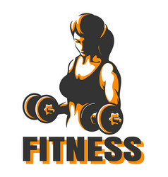 training woman with dumbbells fitness emblem vector image