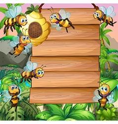 Wooden sign with bee flying in garden vector