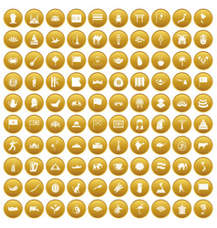100 asia icons set gold vector