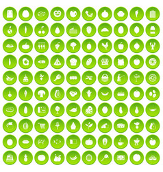 100 natural products icons set green vector image