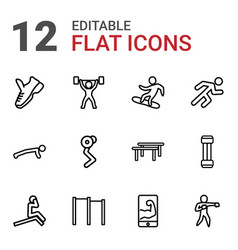 12 athlete icons vector