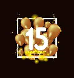 15 year anniversary white gold balloon template vector