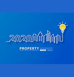 2020 new year city skyline line art creative vector image