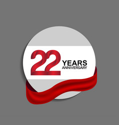 22 years anniversary design in circle red ribbon vector